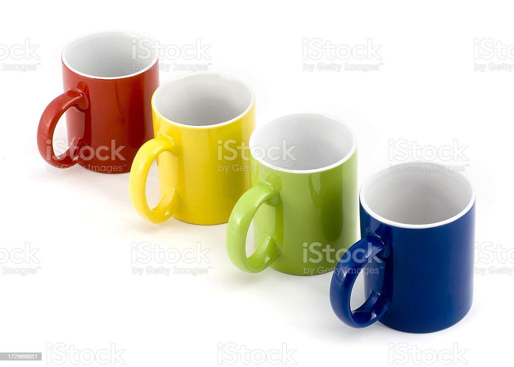 Four coloured mugs royalty-free stock photo