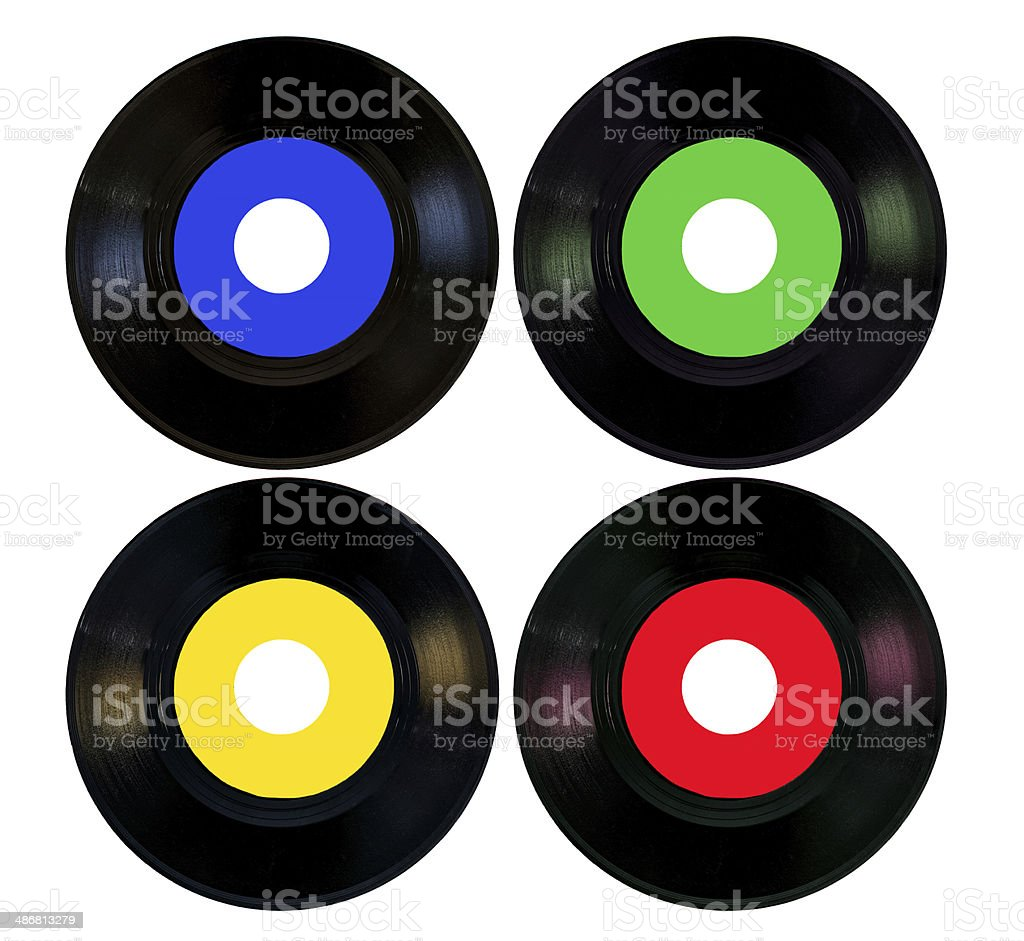 four coloured vinyls blue green yellow red stock photo