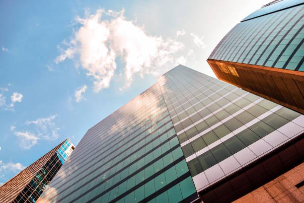 Four corporate buildings stock photo