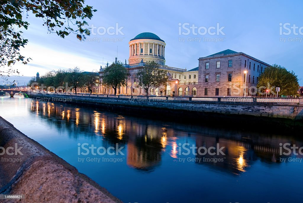 Four Courts and River Liffey stock photo