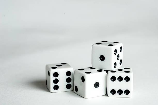 Four dice stock photo