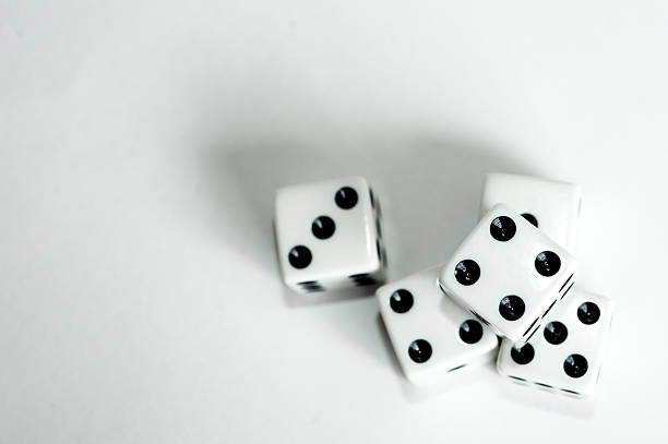 Four dice top down stock photo