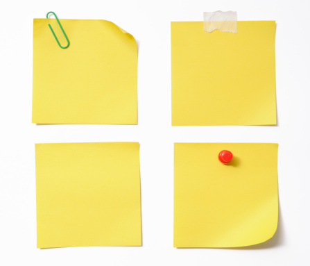 Four different blank yellow sticky note isolated on white background with clipping path.