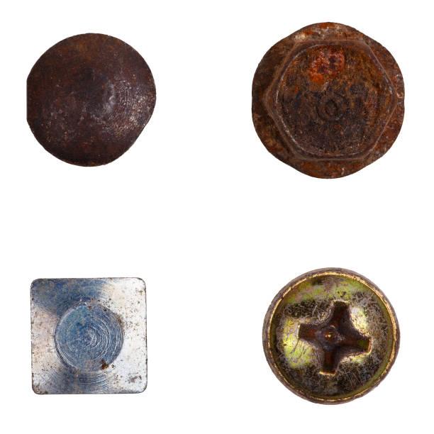 四個不同的螺栓頭 - 釘 個照片及圖片檔