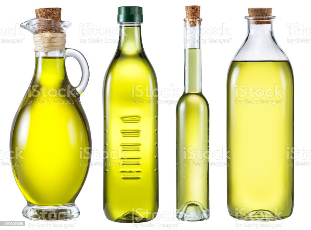 Four Different Bottles Of Olive Oil On White Background