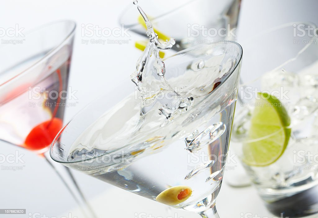 Four different cocktails to drink stock photo
