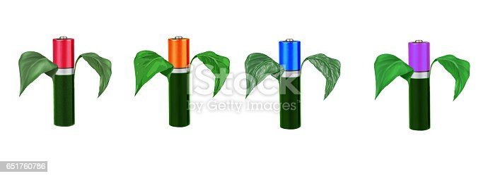 istock Four different color batteries, type AAA, with green leaves on a white background, isolated 651760786