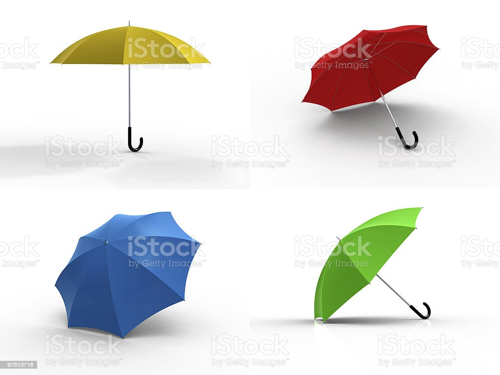 Four different color umbrellas royalty-free stock photo