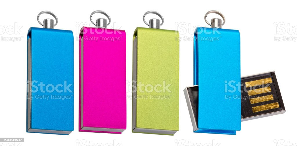 Four different colored USB-stick for data storage stock photo
