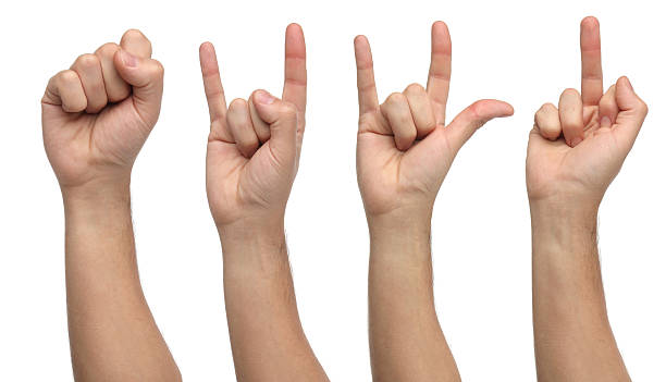 Four different hand signs isolated on white stock photo