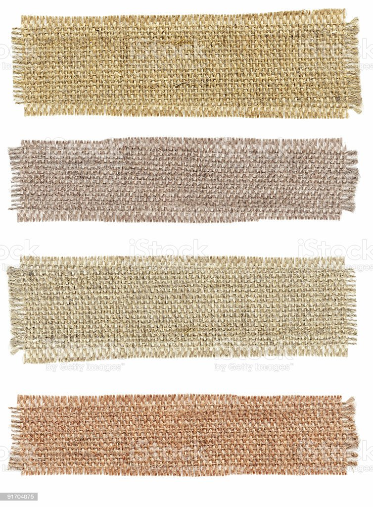 Four different shades of hessian sack cloth stock photo