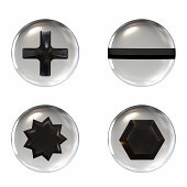 istock Four different shaped screw icons on a white background 182911235
