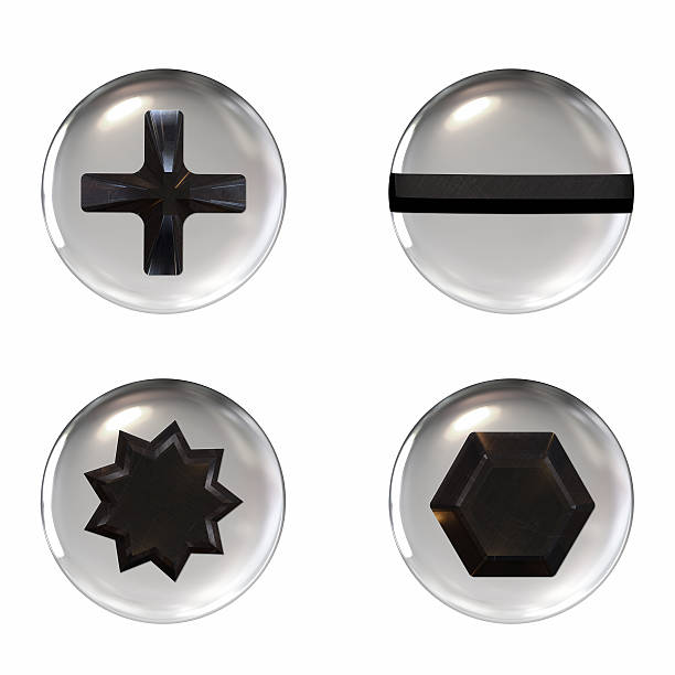 four different shaped screw icons on a white background - head stock photos and pictures