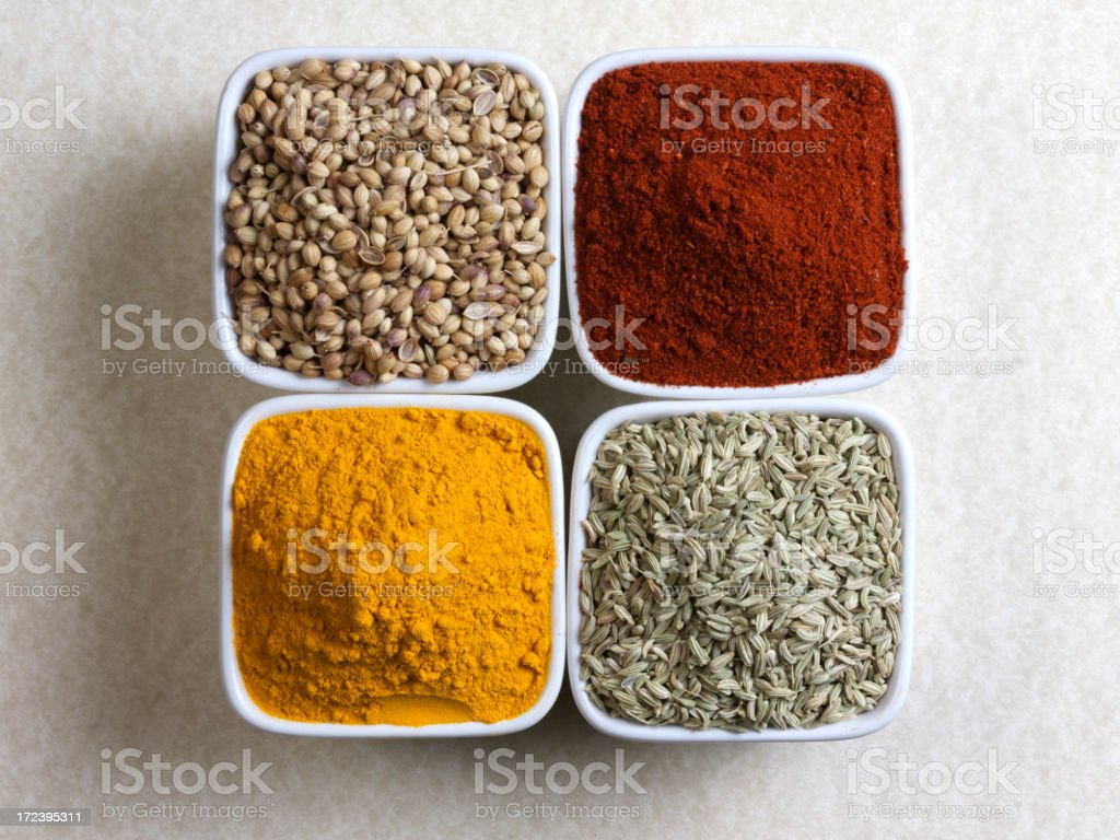 Four different spices royalty-free stock photo