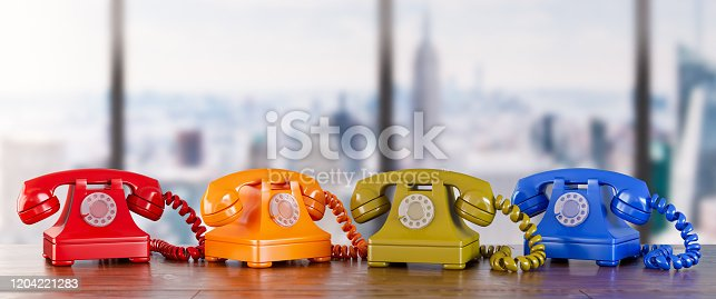 Four Different Telephones. 3d Render