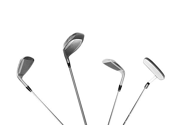 four different type of golf clubs, isolated - golf clubs stock photos and pictures