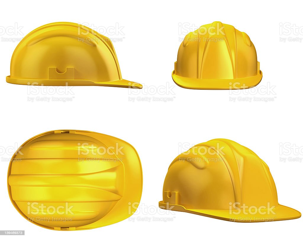 Four different view points of a yellow construction hat  stock photo