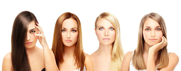 Four different women. Blonde and brunette stock photo