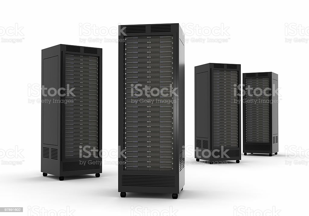 Four disarray he's high performance server units with wheels royalty-free stock photo