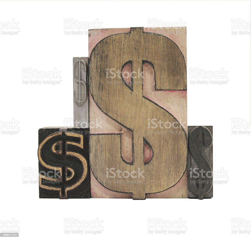 four dollar signs royalty-free stock photo