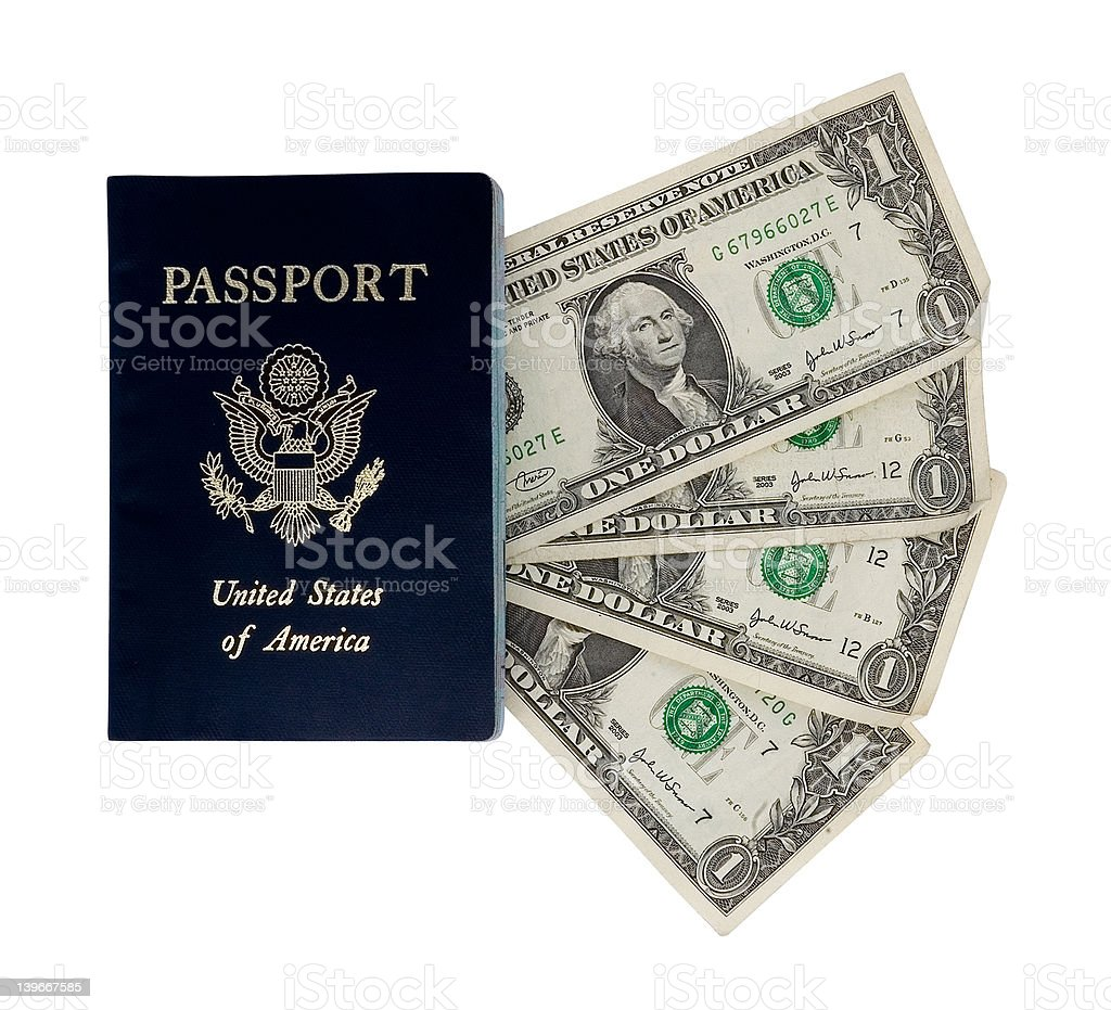 four dollars and a passport stock photo