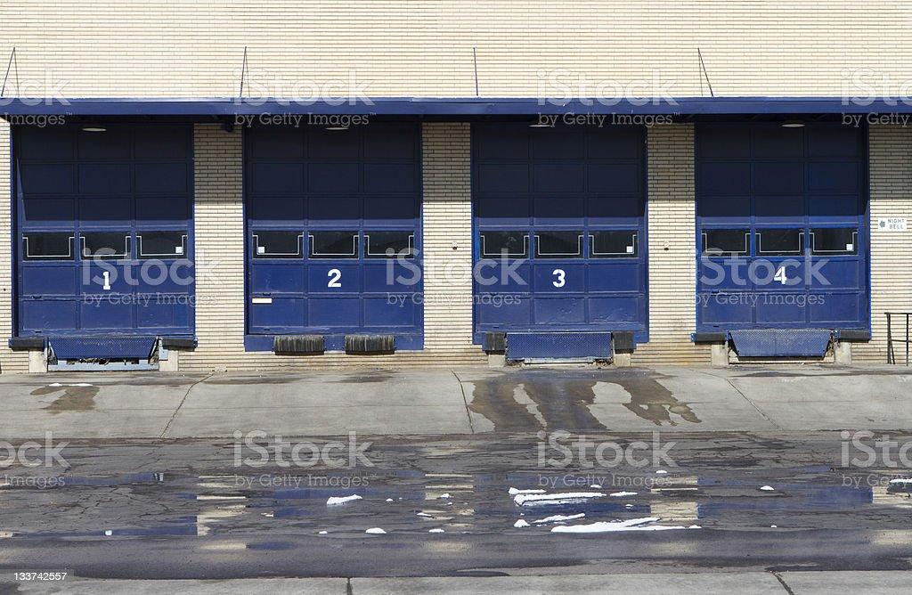 Four Door Industrial Delivery Dock royalty-free stock photo