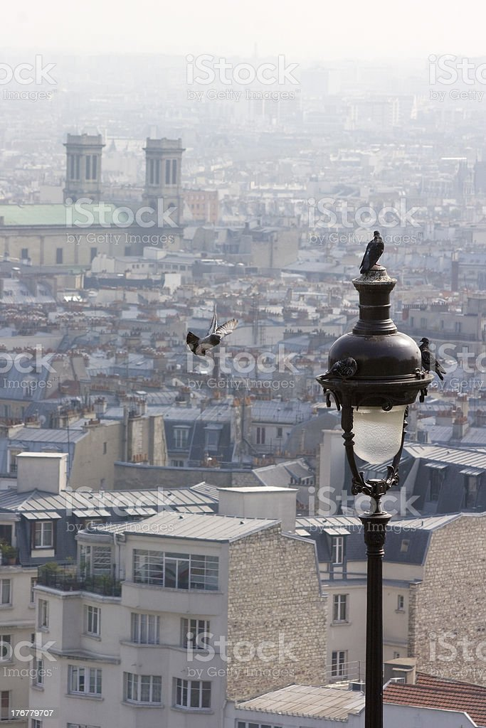 four doves at a lantern and the rooftops of paris royalty-free stock photo