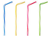 istock Four drinking straw pink, blue, yellow, green striped 939148880