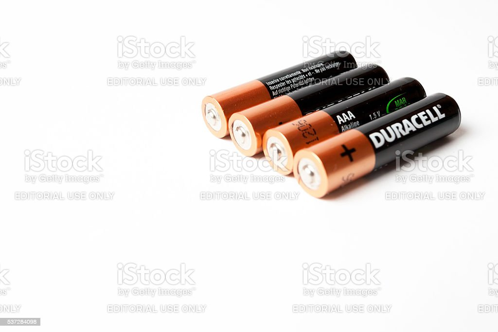 Gdansk, Poland - May 20, 2016: Four Duracell AAA batteries. stock photo