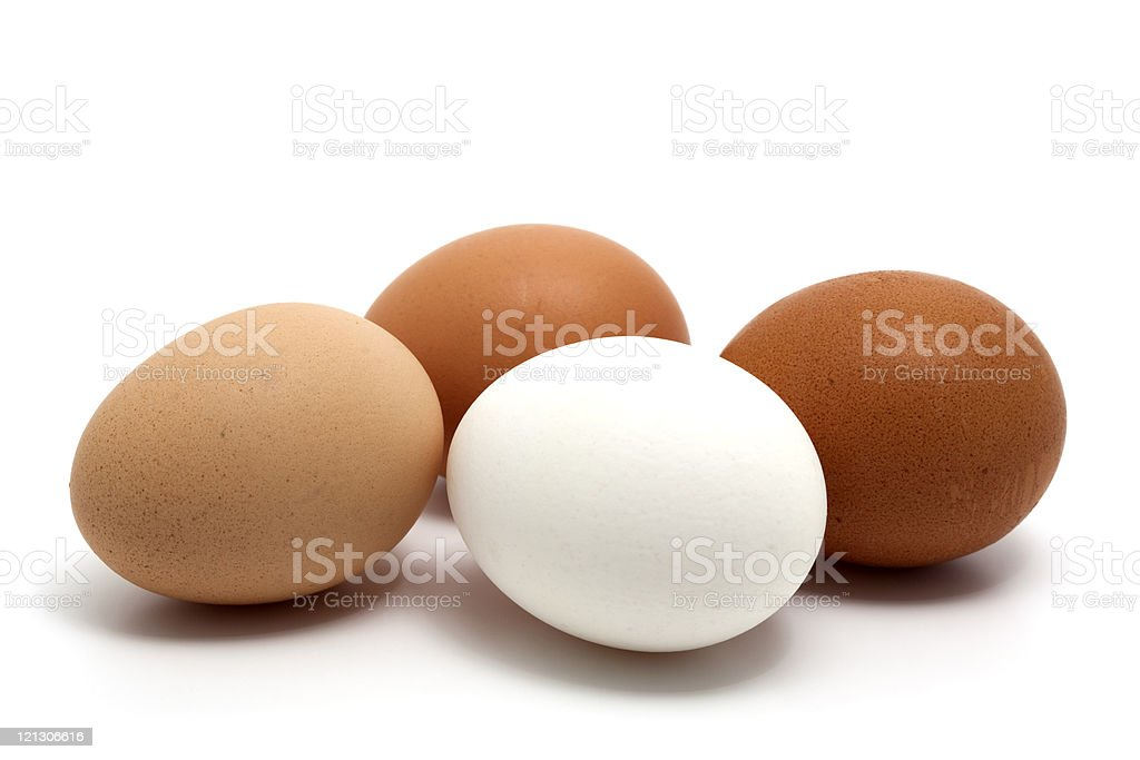 Four eggs in all the possible different colors royalty-free stock photo