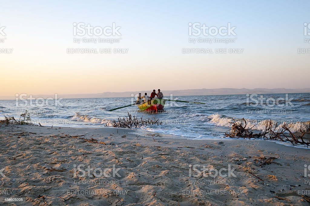 Fishermen and boat on Lake Qarun stock photo