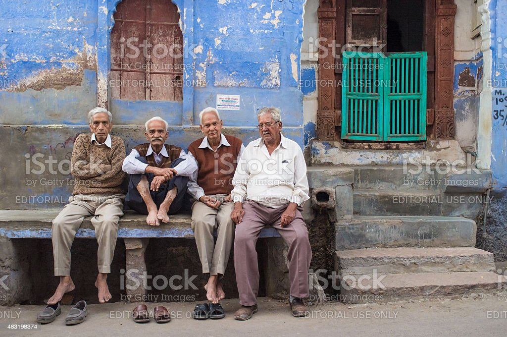 Four elderly men stock photo