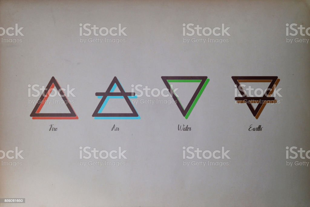 Four elements - Alchemy stock photo
