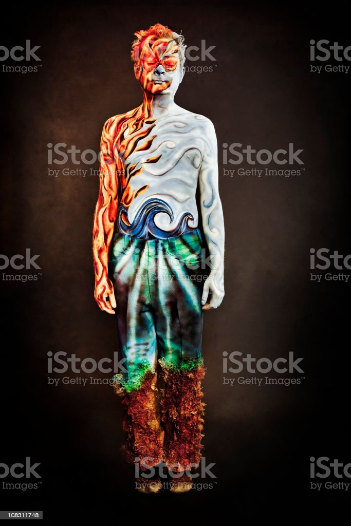 Four Elements Body Paint Series stock photo