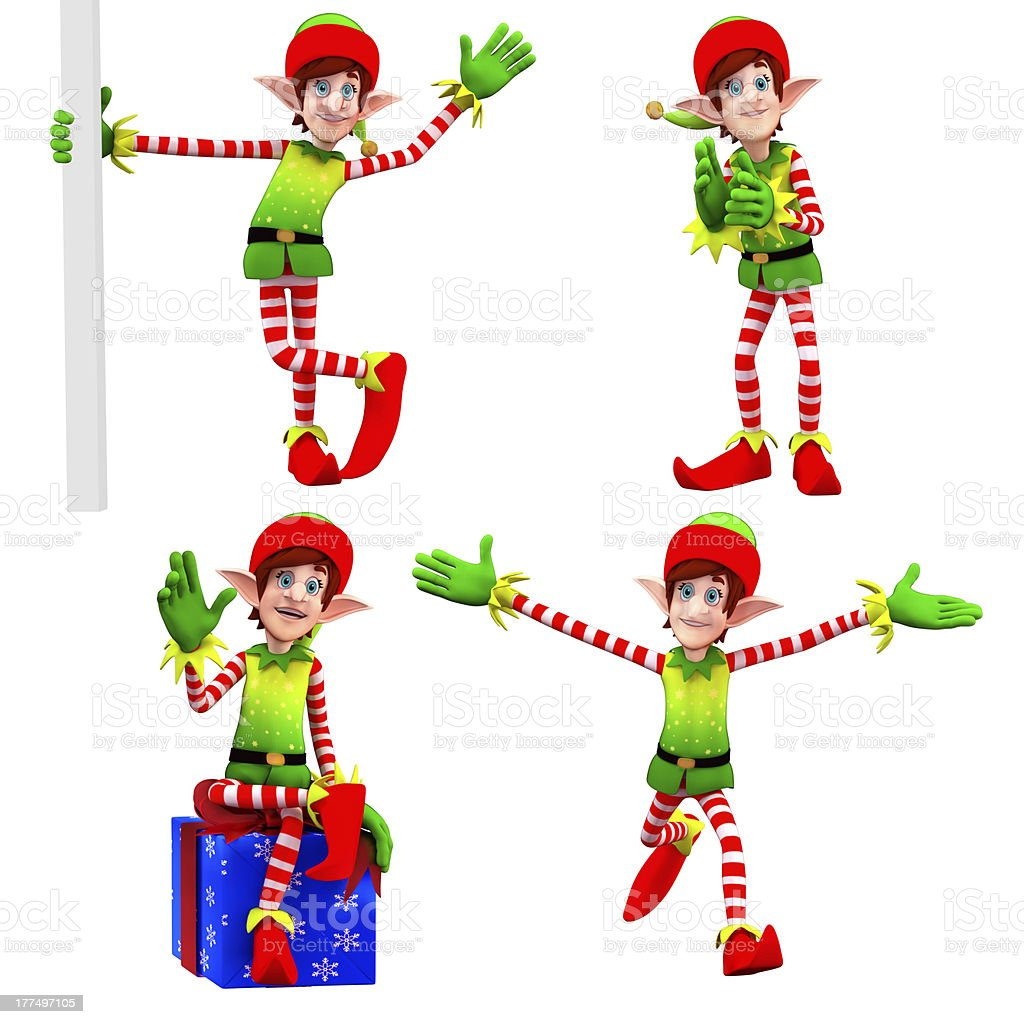 Four elves are in different actions stock photo