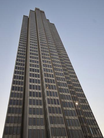 Upward view of Four Embarcadero Center tower in San Francisco, California.