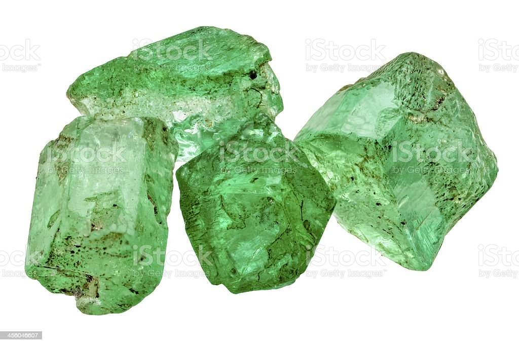 Four emerald crystals stock photo