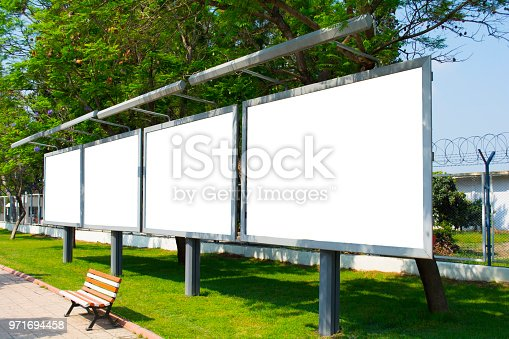 istock Four Empty / blank outdoor advertising billboards by Bosphorus in Istanbul. 971694458