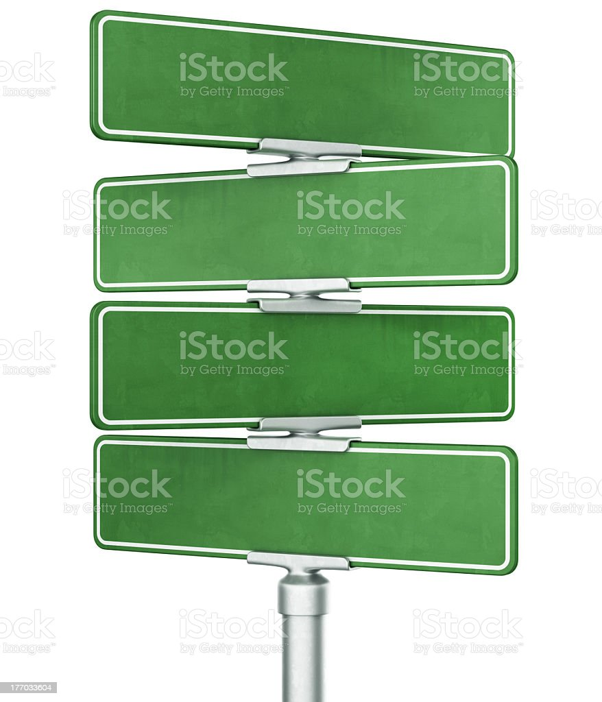 Four empty, green street signs on a white background stock photo