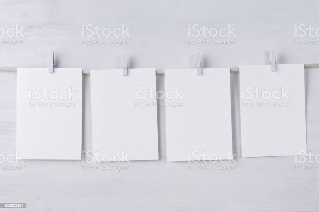 Four empty wotercolor paper cards stock photo
