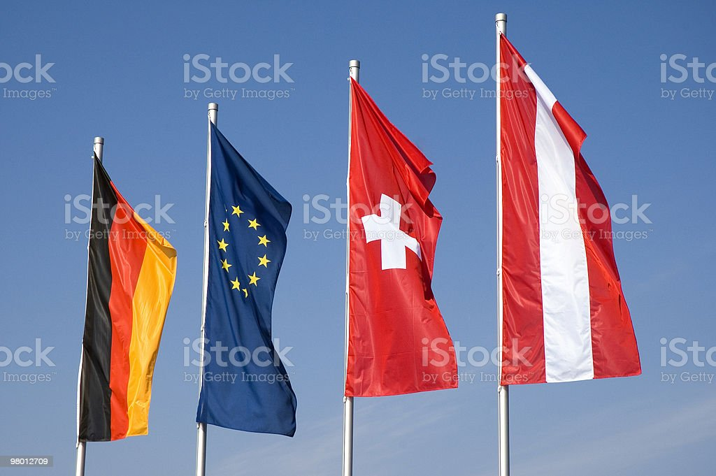 Four European Flags royalty-free stock photo
