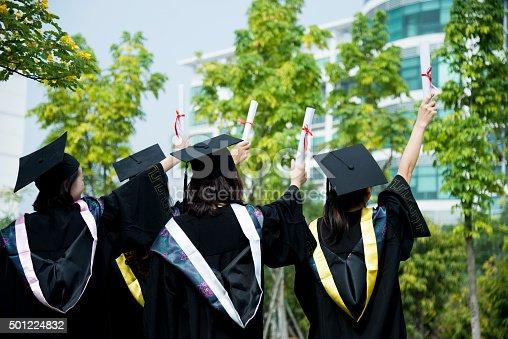 istock Four female graduates at campus 501224832
