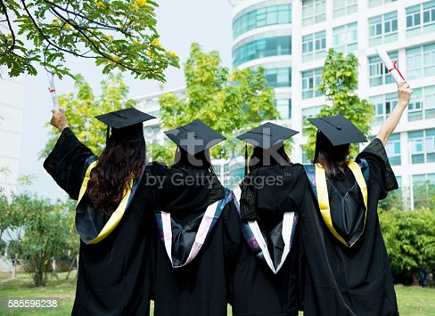 858462408istockphoto Four female graduates at campus 585596238