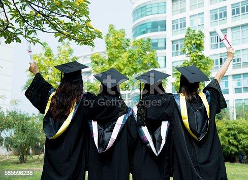 istock Four female graduates at campus 585596238