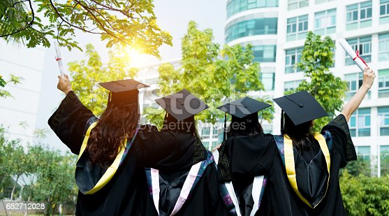 858462408istockphoto Four female graduates at campus 652712028