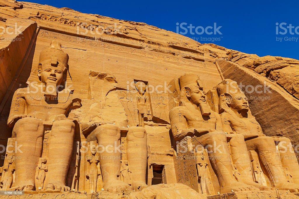 four figures Abu Simbel stock photo