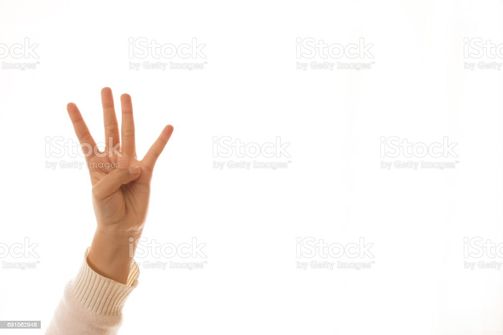 four finger counting sign,image of a children'sfinger pointing stock photo