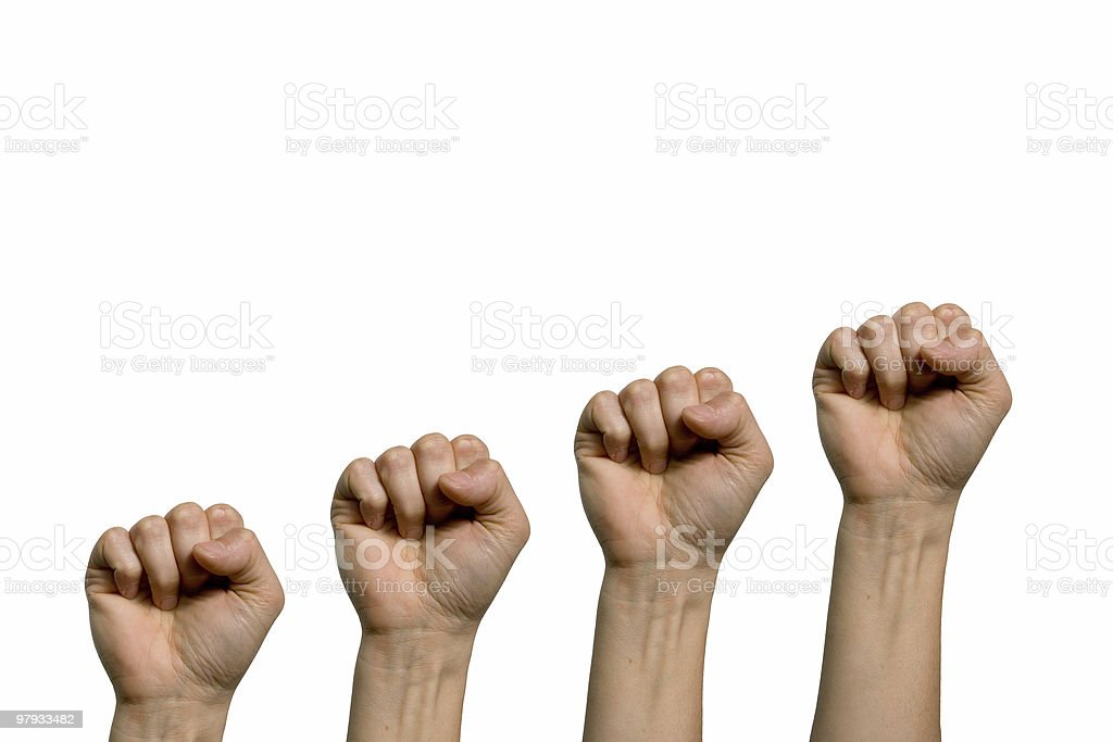 Four fist royalty-free stock photo