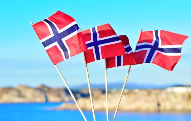 vier vlaggen van noorwegen - noorse vlag stockfoto's en -beelden