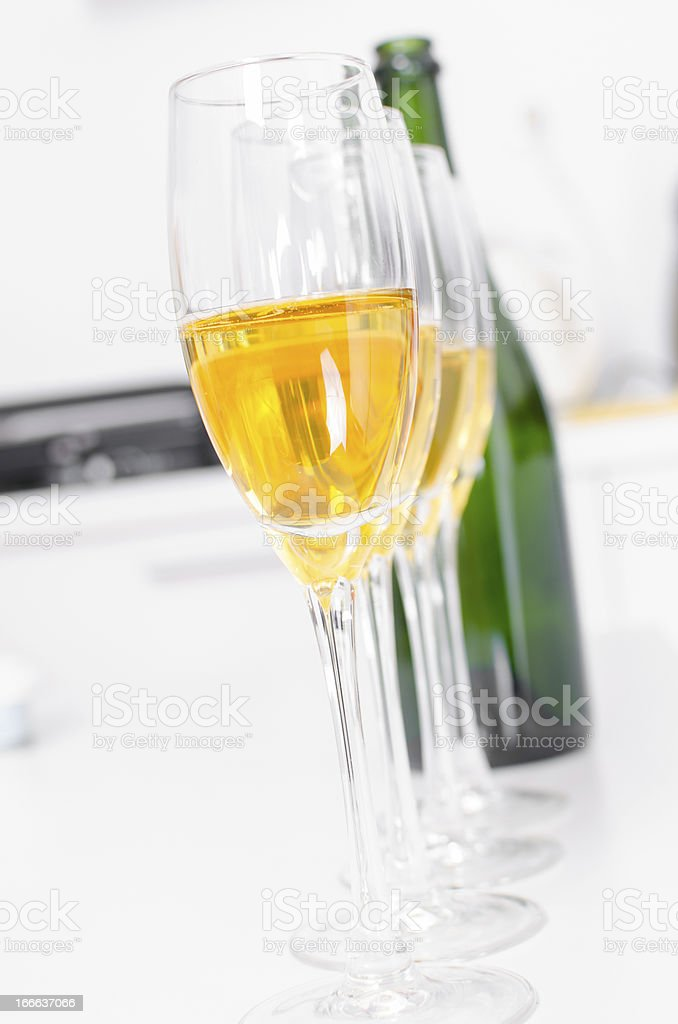 Four Flutes of Champagne royalty-free stock photo